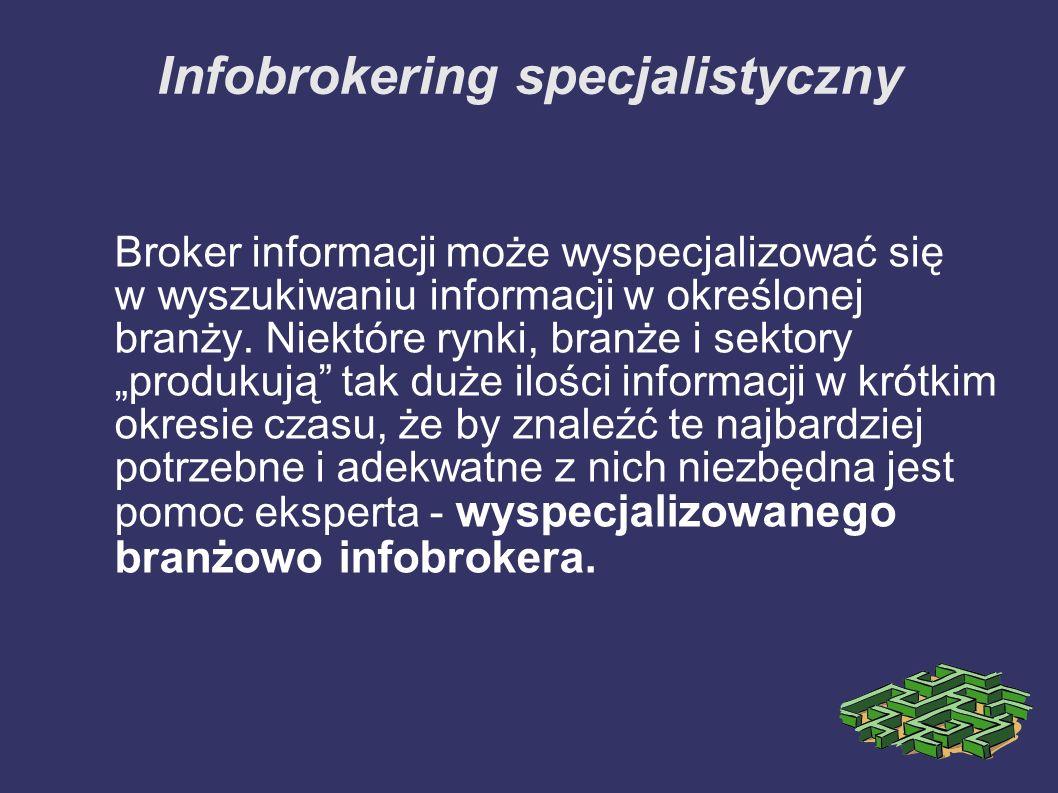 Infobrokering specjalistyczny Broker informacji może wyspecjalizować się w wyszukiwaniu informacji w określonej branży. Niektóre rynki, branże i sekto