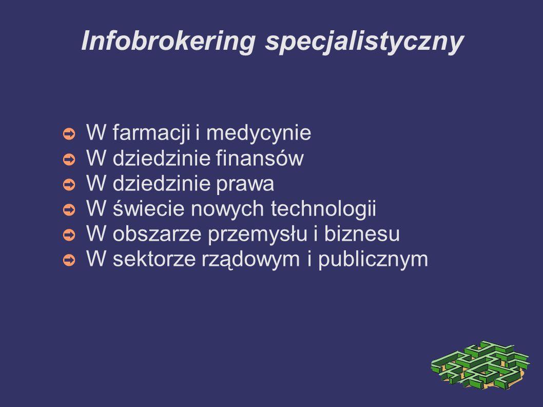 Infobrokering specjalistyczny W farmacji i medycynie W dziedzinie finansów W dziedzinie prawa W świecie nowych technologii W obszarze przemysłu i bizn