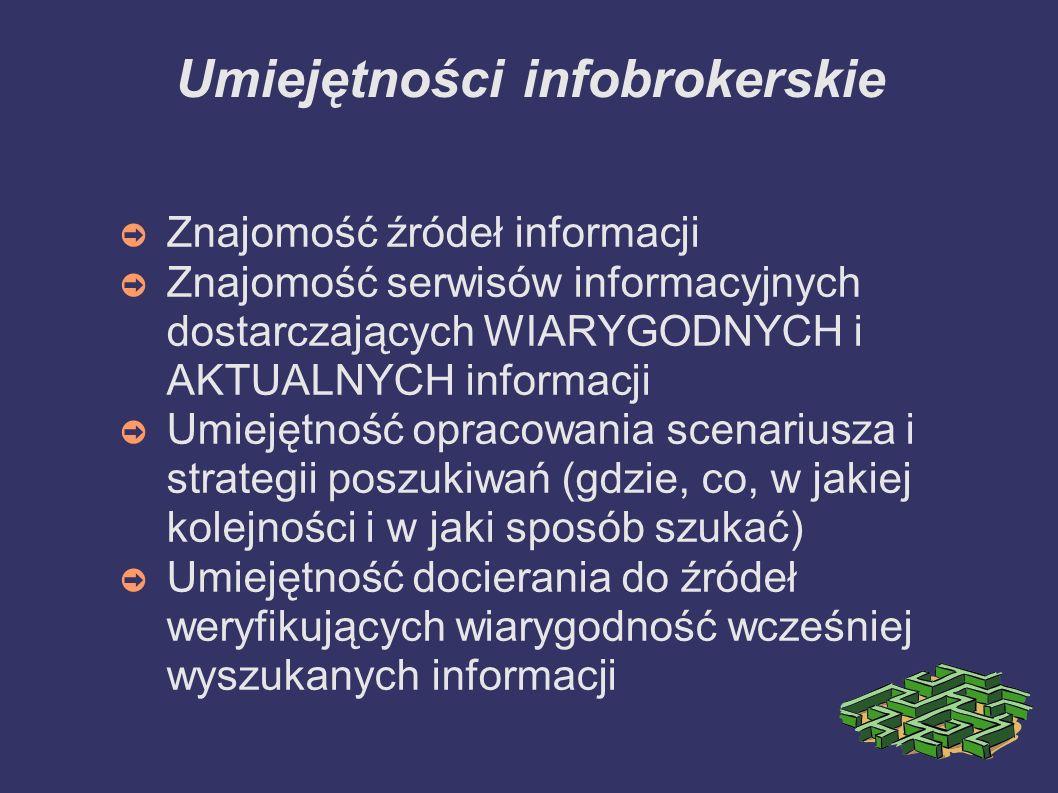 Umiejętności infobrokerskie Znajomość źródeł informacji Znajomość serwisów informacyjnych dostarczających WIARYGODNYCH i AKTUALNYCH informacji Umiejęt