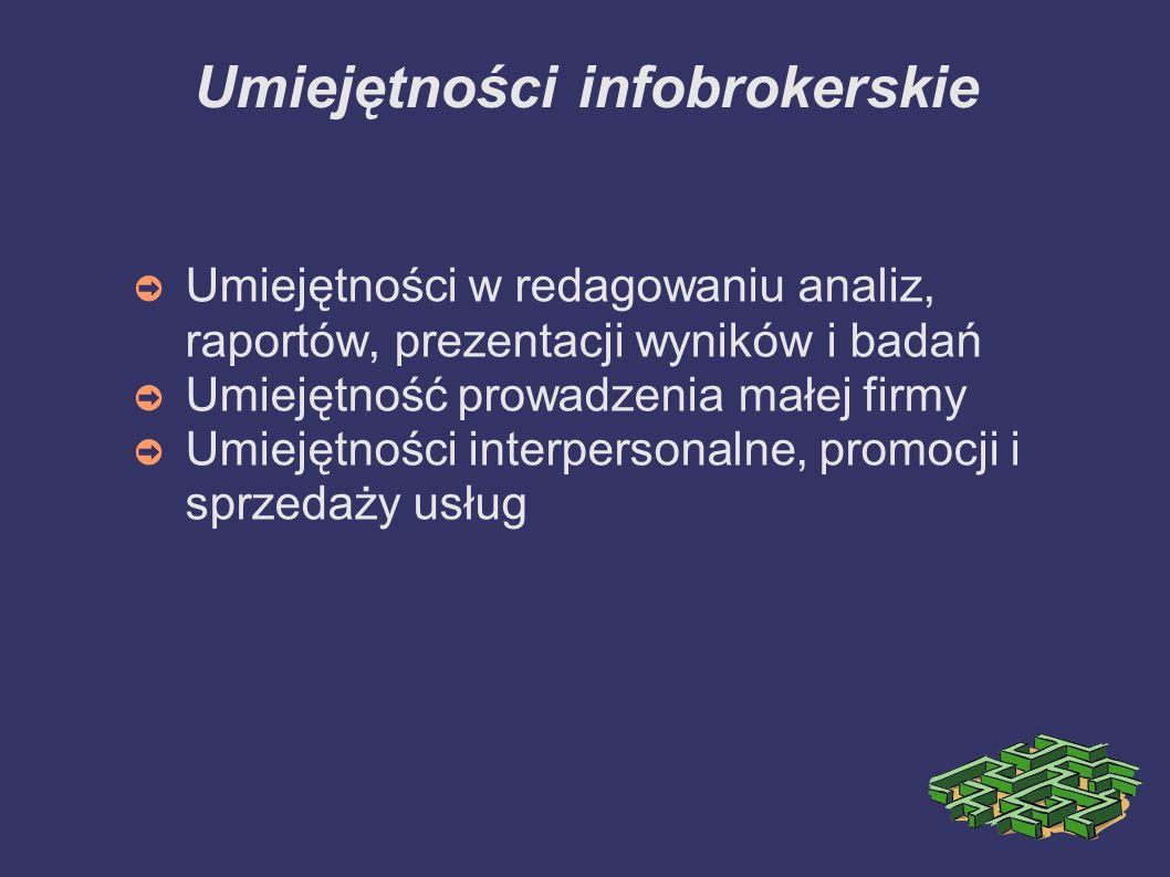 Umiejętności infobrokerskie Umiejętności w redagowaniu analiz, raportów, prezentacji wyników i badań Umiejętność prowadzenia małej firmy Umiejętności