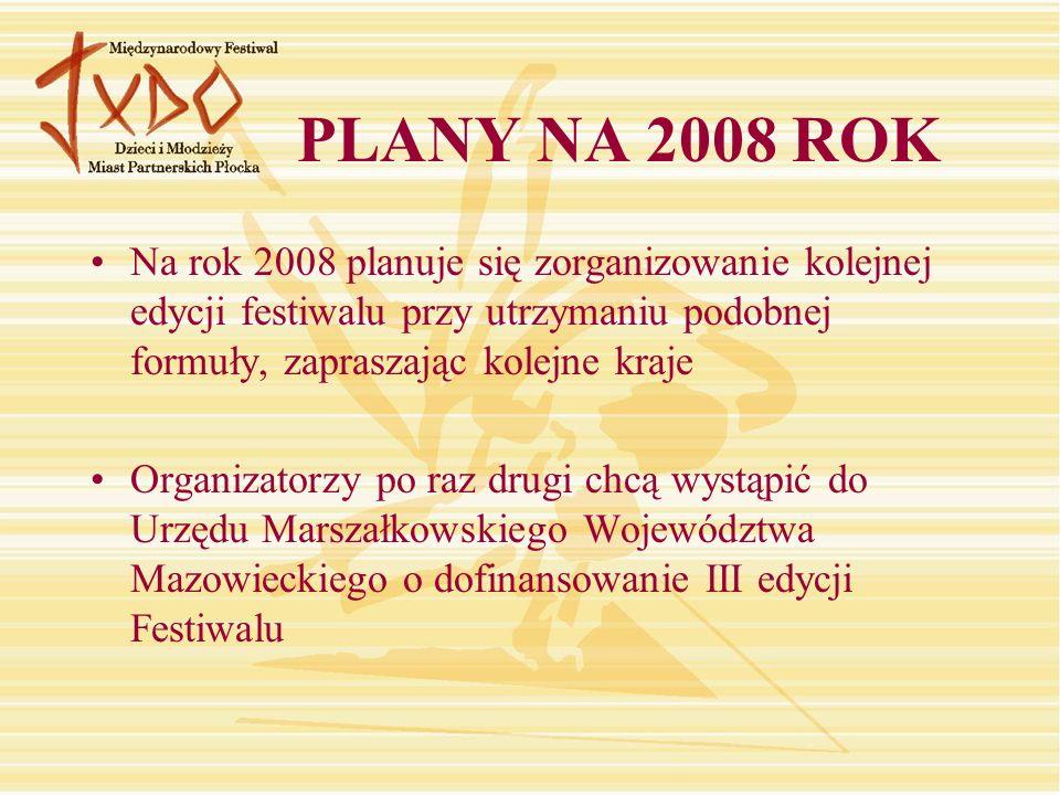 PLANY NA 2008 ROK Na rok 2008 planuje się zorganizowanie kolejnej edycji festiwalu przy utrzymaniu podobnej formuły, zapraszając kolejne kraje Organizatorzy po raz drugi chcą wystąpić do Urzędu Marszałkowskiego Województwa Mazowieckiego o dofinansowanie III edycji Festiwalu