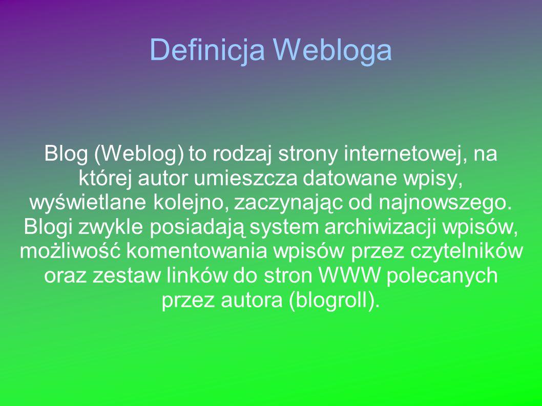 Definicja Webloga Blog (Weblog) to rodzaj strony internetowej, na której autor umieszcza datowane wpisy, wyświetlane kolejno, zaczynając od najnowszeg