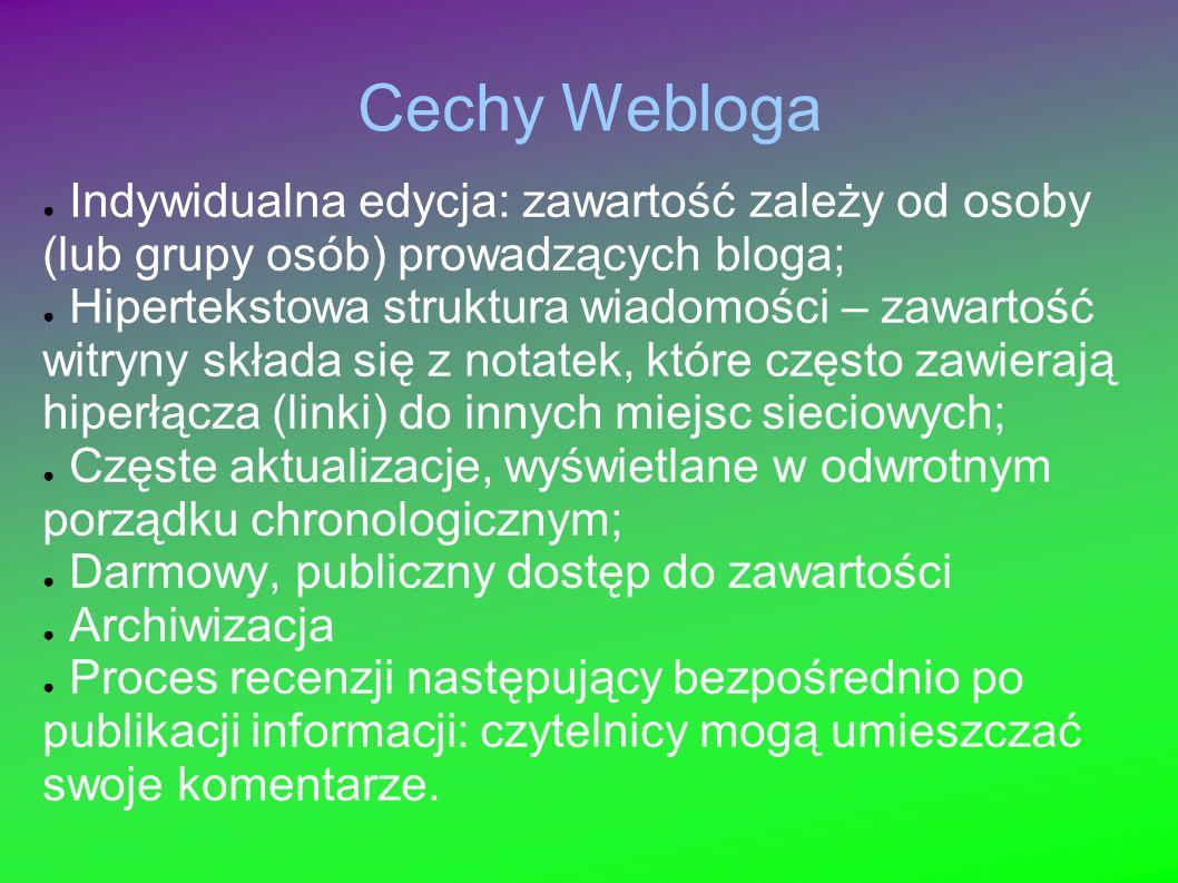 Cechy Webloga Indywidualna edycja: zawartość zależy od osoby (lub grupy osób) prowadzących bloga; Hipertekstowa struktura wiadomości – zawartość witry