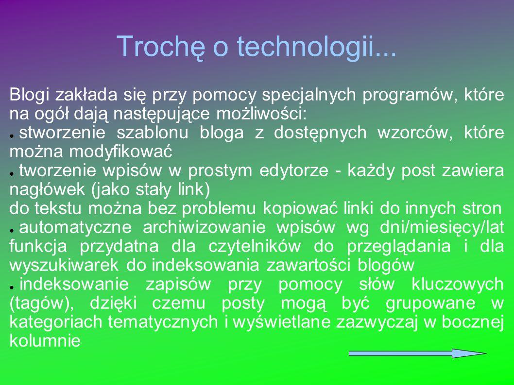 Trochę o technologii... Blogi zakłada się przy pomocy specjalnych programów, które na ogół dają następujące możliwości: stworzenie szablonu bloga z do