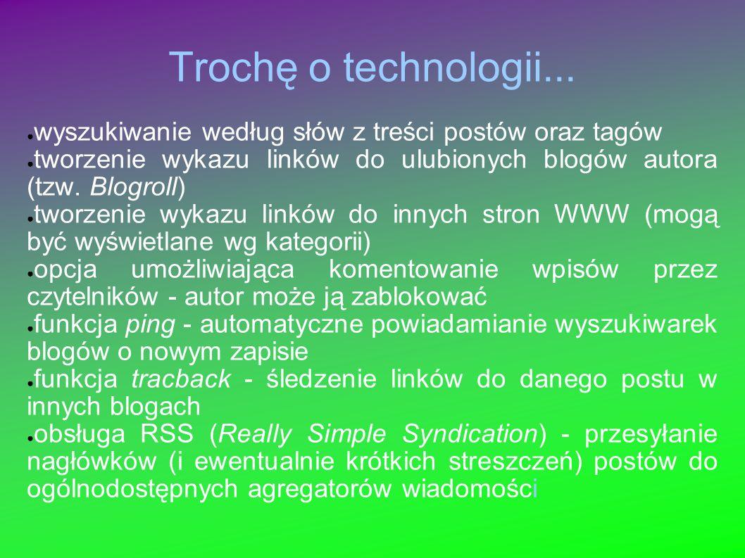 Trochę o technologii... wyszukiwanie według słów z treści postów oraz tagów tworzenie wykazu linków do ulubionych blogów autora (tzw. Blogroll) tworze