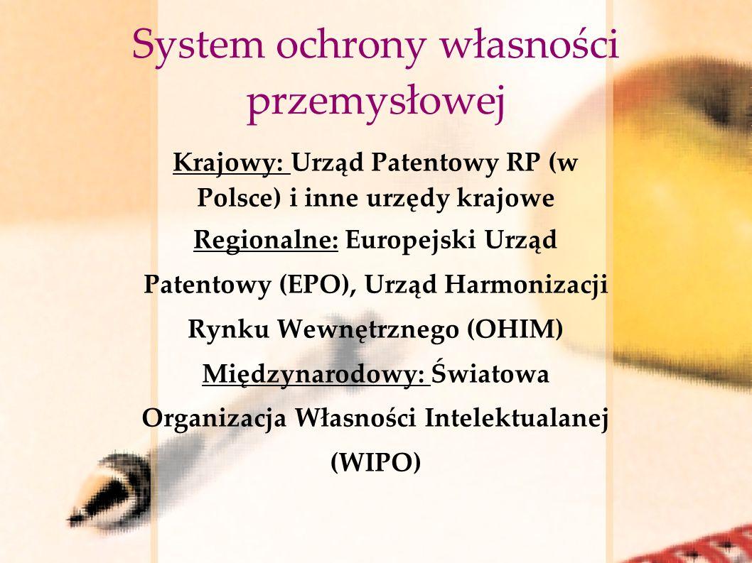 System ochrony własności przemysłowej Krajowy: Urząd Patentowy RP (w Polsce) i inne urzędy krajowe Regionalne: Europejski Urząd Patentowy (EPO), Urząd