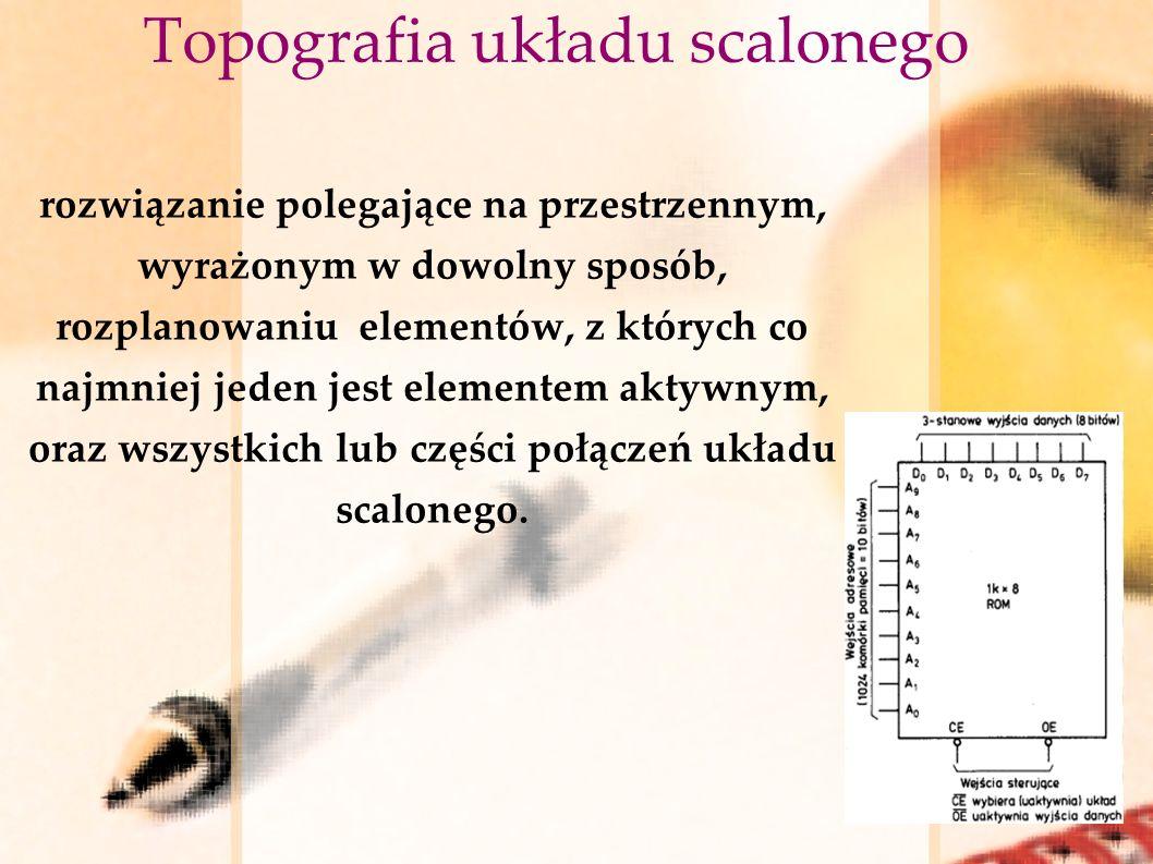 Topografia układu scalonego rozwiązanie polegające na przestrzennym, wyrażonym w dowolny sposób, rozplanowaniu elementów, z których co najmniej jeden