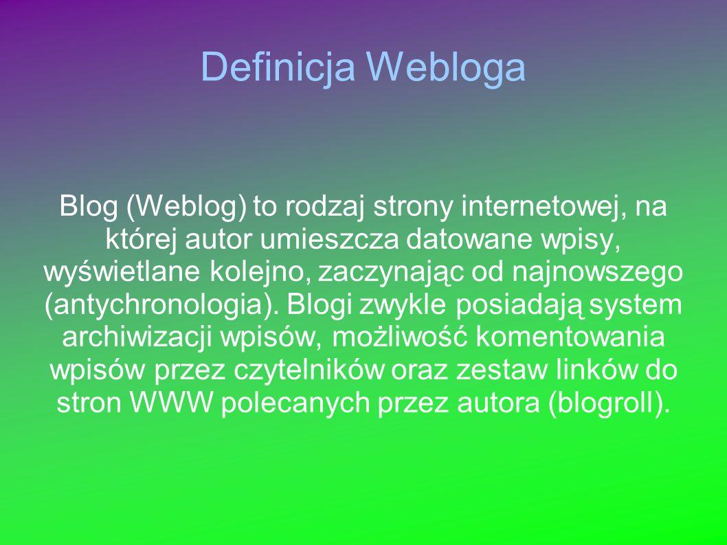 Definicja Webloga Blog (Weblog) to rodzaj strony internetowej, na której autor umieszcza datowane wpisy, wyświetlane kolejno, zaczynając od najnowszego (antychronologia).
