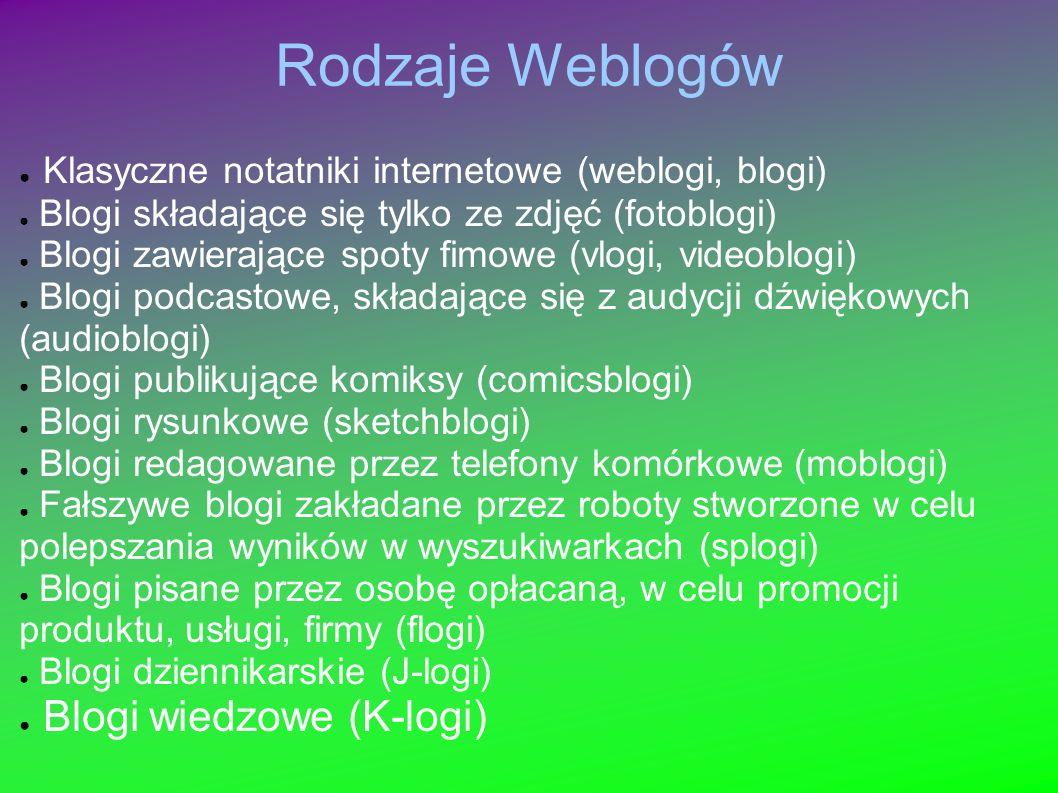 Rodzaje Weblogów Klasyczne notatniki internetowe (weblogi, blogi) Blogi składające się tylko ze zdjęć (fotoblogi) Blogi zawierające spoty fimowe (vlogi, videoblogi) Blogi podcastowe, składające się z audycji dźwiękowych (audioblogi) Blogi publikujące komiksy (comicsblogi) Blogi rysunkowe (sketchblogi) Blogi redagowane przez telefony komórkowe (moblogi) Fałszywe blogi zakładane przez roboty stworzone w celu polepszania wyników w wyszukiwarkach (splogi) Blogi pisane przez osobę opłacaną, w celu promocji produktu, usługi, firmy (flogi) Blogi dziennikarskie (J-logi) Blogi wiedzowe (K-logi)