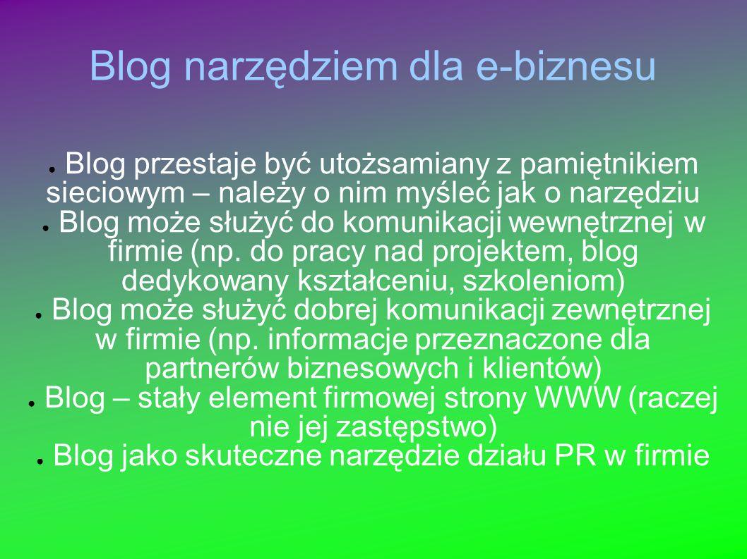 Blog narzędziem dla e-biznesu Blog przestaje być utożsamiany z pamiętnikiem sieciowym – należy o nim myśleć jak o narzędziu Blog może służyć do komunikacji wewnętrznej w firmie (np.