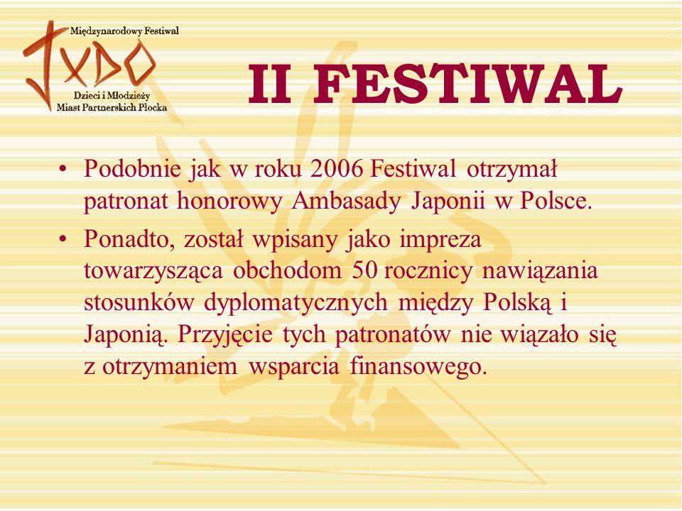 Podobnie jak w roku 2006 Festiwal otrzymał patronat honorowy Ambasady Japonii w Polsce.