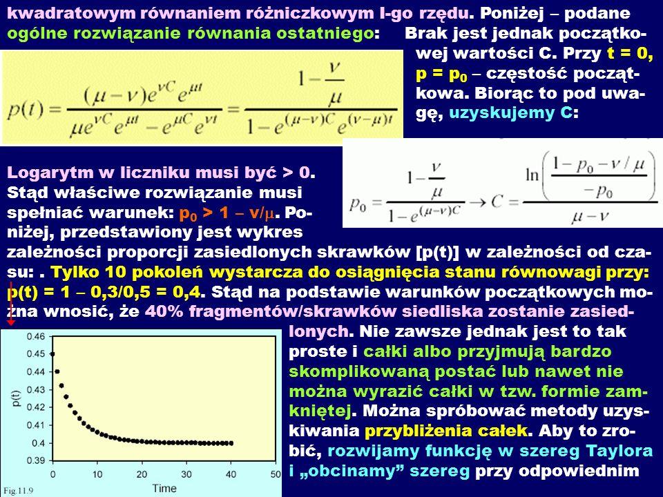 kwadratowym równaniem różniczkowym I-go rzędu. Poniżej – podane ogólne rozwiązanie równania ostatniego: Brak jest jednak początko- wej wartości C. Prz