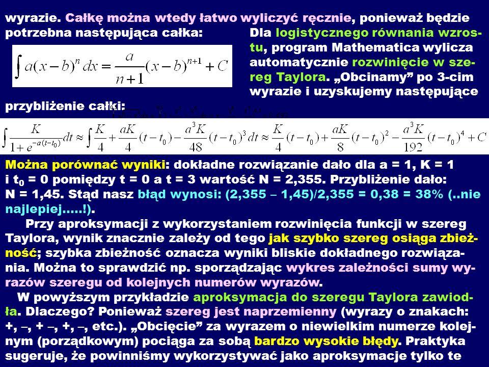 wyrazie. Całkę można wtedy łatwo wyliczyć ręcznie, ponieważ będzie potrzebna następująca całka: Dla logistycznego równania wzros- tu, program Mathemat