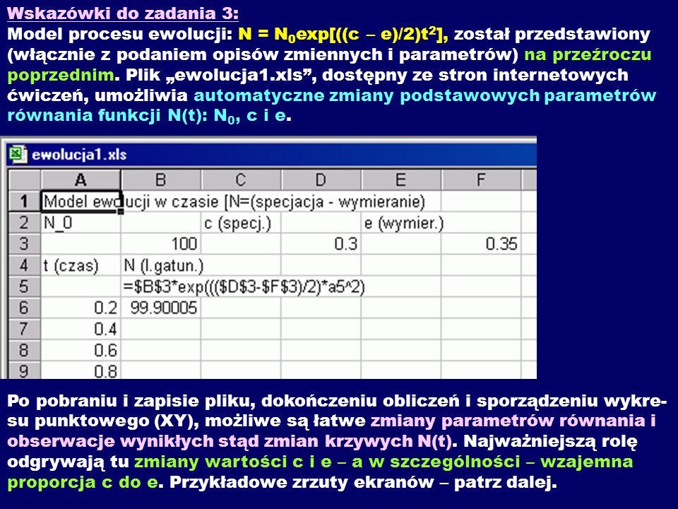 Wskazówki do zadania 3: Model procesu ewolucji: N = N 0 exp[((c – e)/2)t 2 ], został przedstawiony (włącznie z podaniem opisów zmiennych i parametrów)