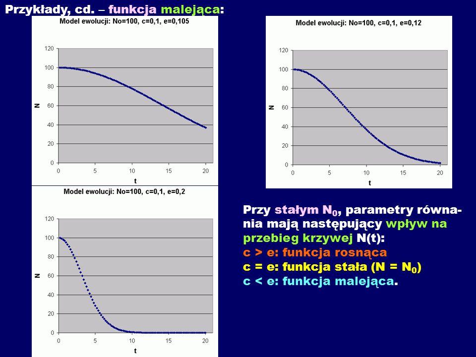 Przykłady, cd. – funkcja malejąca: Przy stałym N 0, parametry równa- nia mają następujący wpływ na przebieg krzywej N(t): c > e: funkcja rosnąca c = e