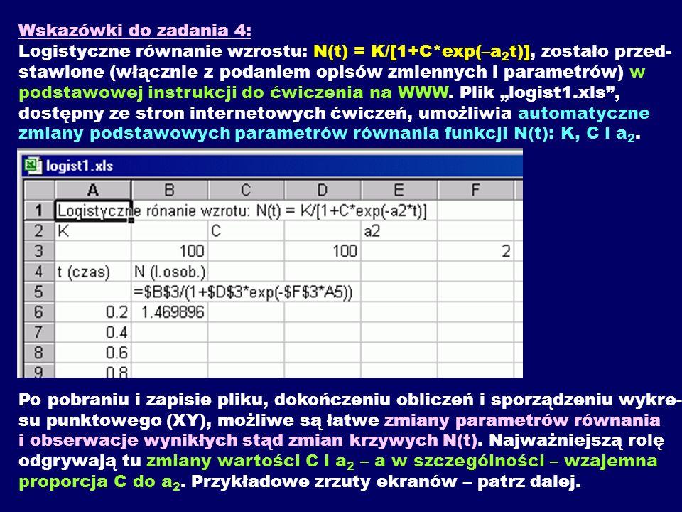 Wskazówki do zadania 4: Logistyczne równanie wzrostu: N(t) = K/[1+C*exp(–a 2 t)], zostało przed- stawione (włącznie z podaniem opisów zmiennych i para