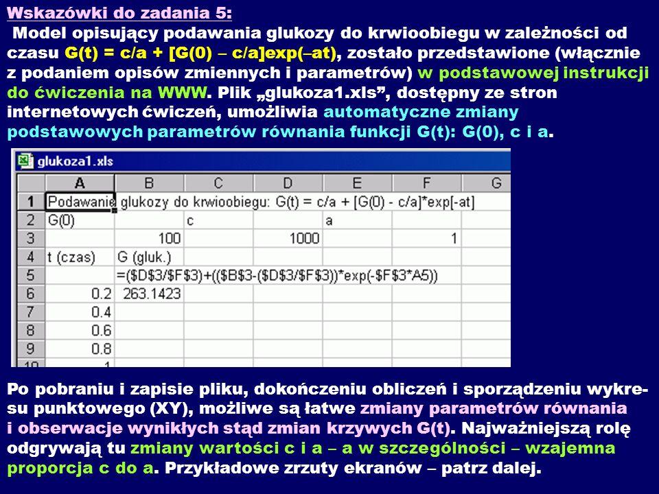 Wskazówki do zadania 5: Model opisujący podawania glukozy do krwioobiegu w zależności od czasu G(t) = c/a + [G(0) – c/a]exp(–at), zostało przedstawion