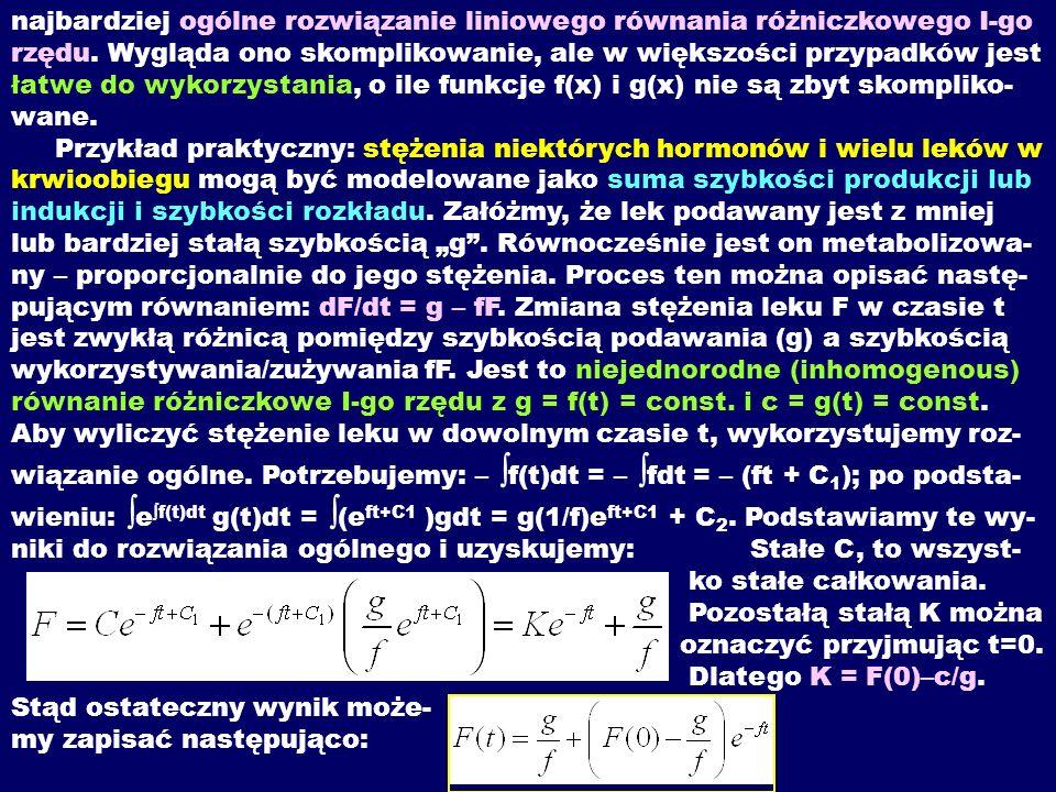 najbardziej ogólne rozwiązanie liniowego równania różniczkowego I-go rzędu. Wygląda ono skomplikowanie, ale w większości przypadków jest łatwe do wyko