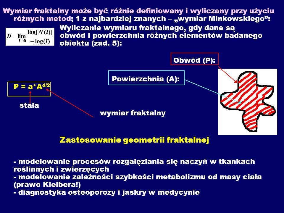 Wymiar fraktalny może być różnie definiowany i wyliczany przy użyciu różnych metod; 1 z najbardziej znanych – wymiar Minkowskiego: Wyliczanie wymiaru fraktalnego, gdy dane są obwód i powierzchnia różnych elementów badanego obiektu (zad.