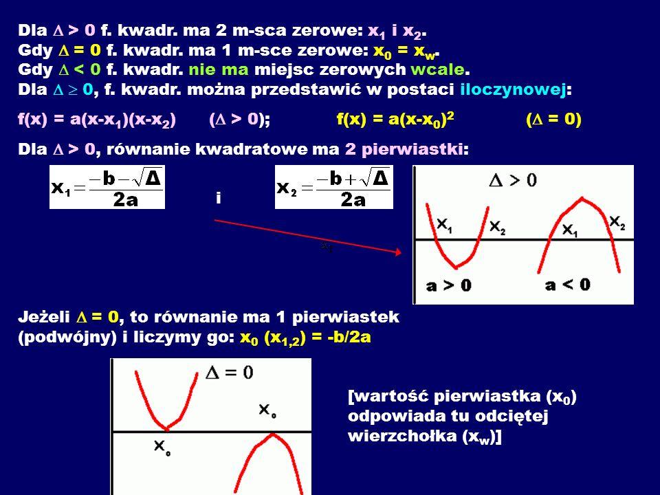 Dla > 0 f.kwadr. ma 2 m-sca zerowe: x 1 i x 2. Gdy = 0 f.