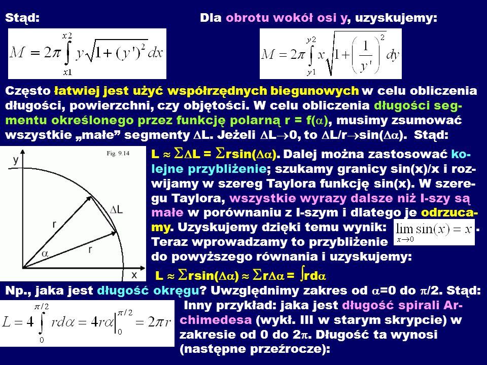 Stąd:Dla obrotu wokół osi y, uzyskujemy: Często łatwiej jest użyć współrzędnych biegunowych w celu obliczenia długości, powierzchni, czy objętości. W