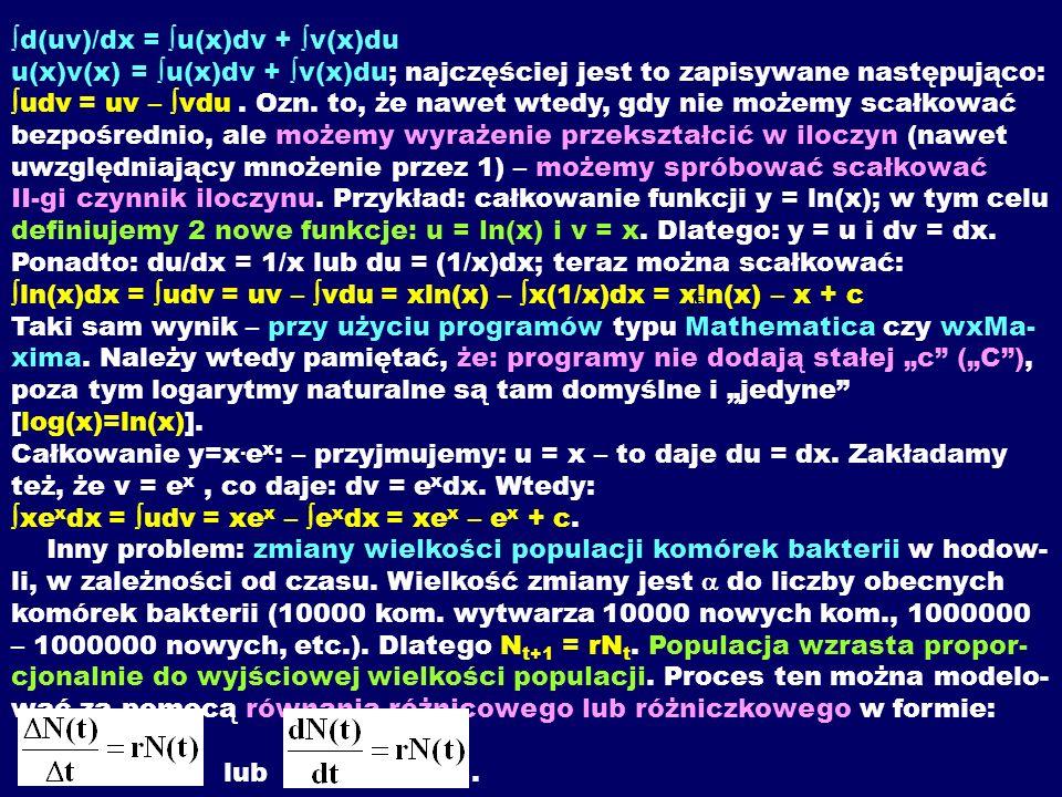 d(uv)/dx = u(x)dv + v(x)du u(x)v(x) = u(x)dv + v(x)du; najczęściej jest to zapisywane następująco: udv = uv – vdu. Ozn. to, że nawet wtedy, gdy nie mo