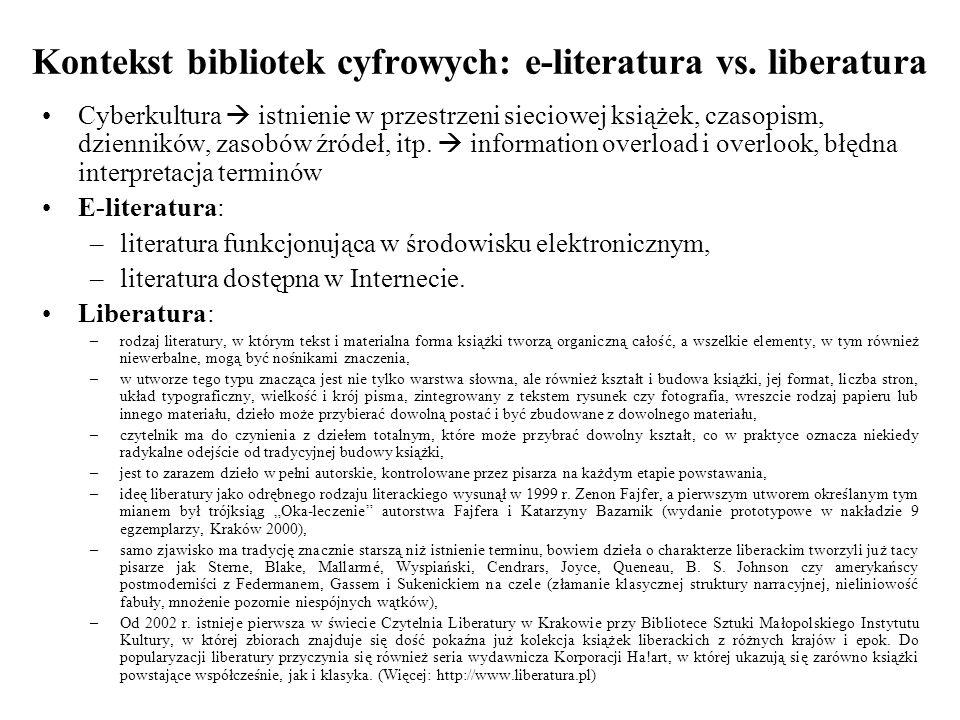 Kontekst bibliotek cyfrowych: e-literatura vs.
