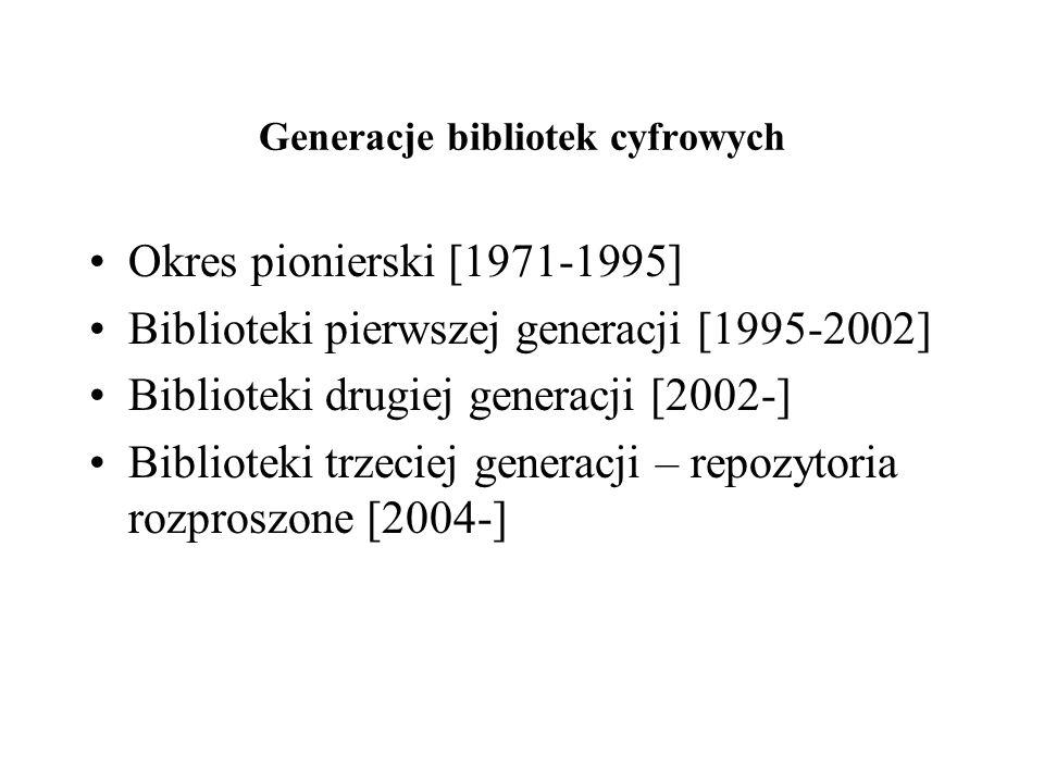 Generacje bibliotek cyfrowych Okres pionierski [1971-1995] Biblioteki pierwszej generacji [1995-2002] Biblioteki drugiej generacji [2002-] Biblioteki trzeciej generacji – repozytoria rozproszone [2004-]
