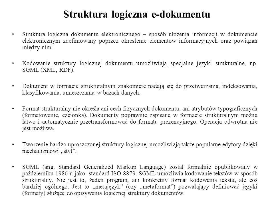 Struktura logiczna e-dokumentu Struktura logiczna dokumentu elektronicznego – sposób ułożenia informacji w dokumencie elektronicznym zdefiniowany poprzez określenie elementów informacyjnych oraz powiązań między nimi.