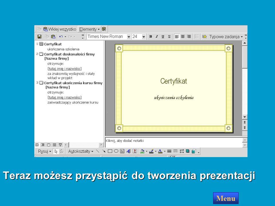 Zakończ Kreator utworzy pokaz slajdów i wyświetli pierwszy slajd na ekranie Menu