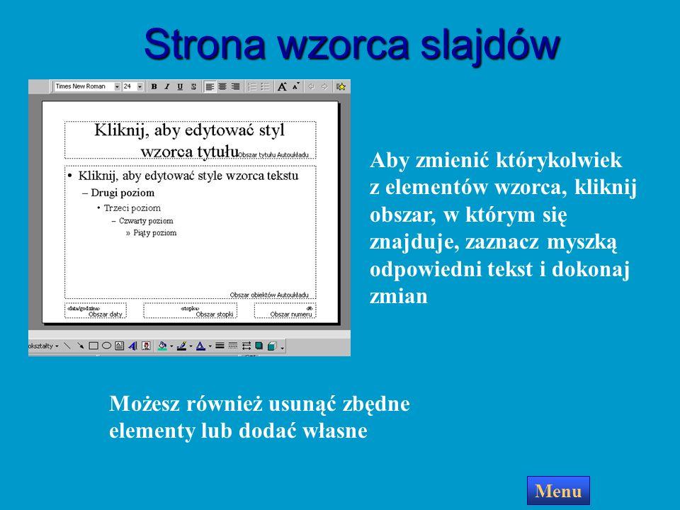 Wzorzec slajdów Menu Wzorzec slajdów umożliwia: określenie krojów i rozmiarów czcionek tytułów i list wypunktowanych wstawienie elementów graficznych