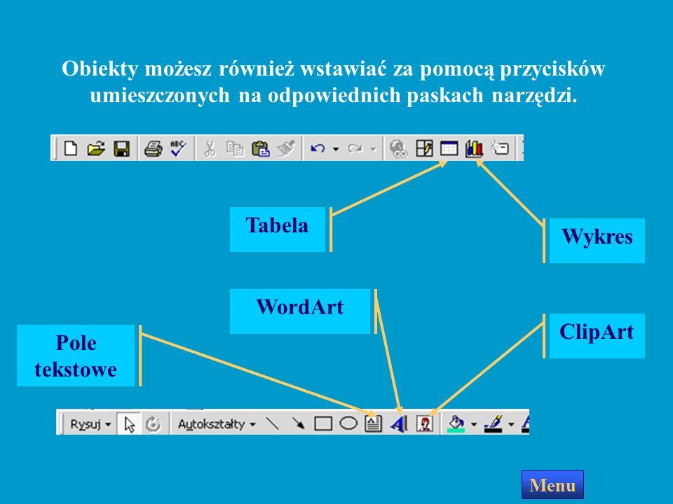 Dodawanie obiektów Menu Wstaw Aby wstawić do slajdu Pole tekstowe, rysunek, obiekt WordArt dźwięk, film wideo lub inny obiekt, otwórz menu Wstaw i wyb