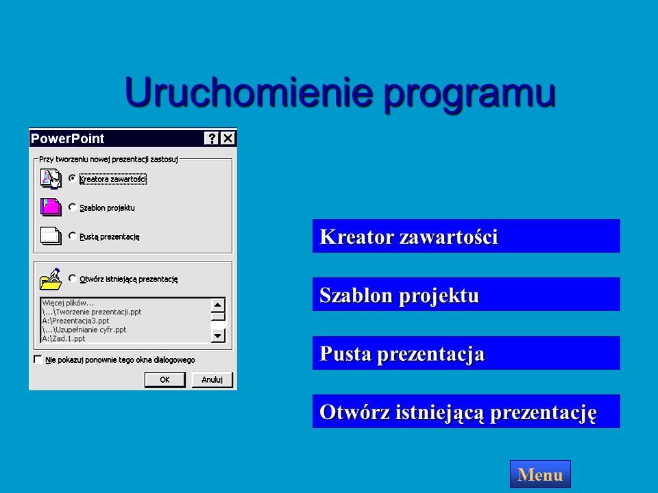 PowerPoint utworzy pierwszy slajd Teraz możesz przystąpić do tworzenia prezentacji Menu