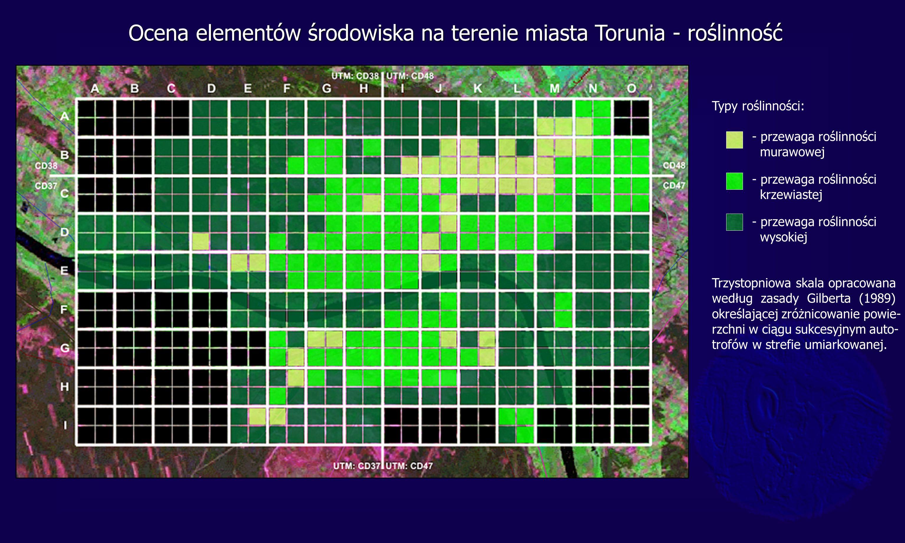 Typy roślinności: - przewaga roślinności murawowej - przewaga roślinności krzewiastej - przewaga roślinności wysokiej Trzystopniowa skala opracowana według zasady Gilberta (1989) określającej zróżnicowanie powie- rzchni w ciągu sukcesyjnym auto- trofów w strefie umiarkowanej.