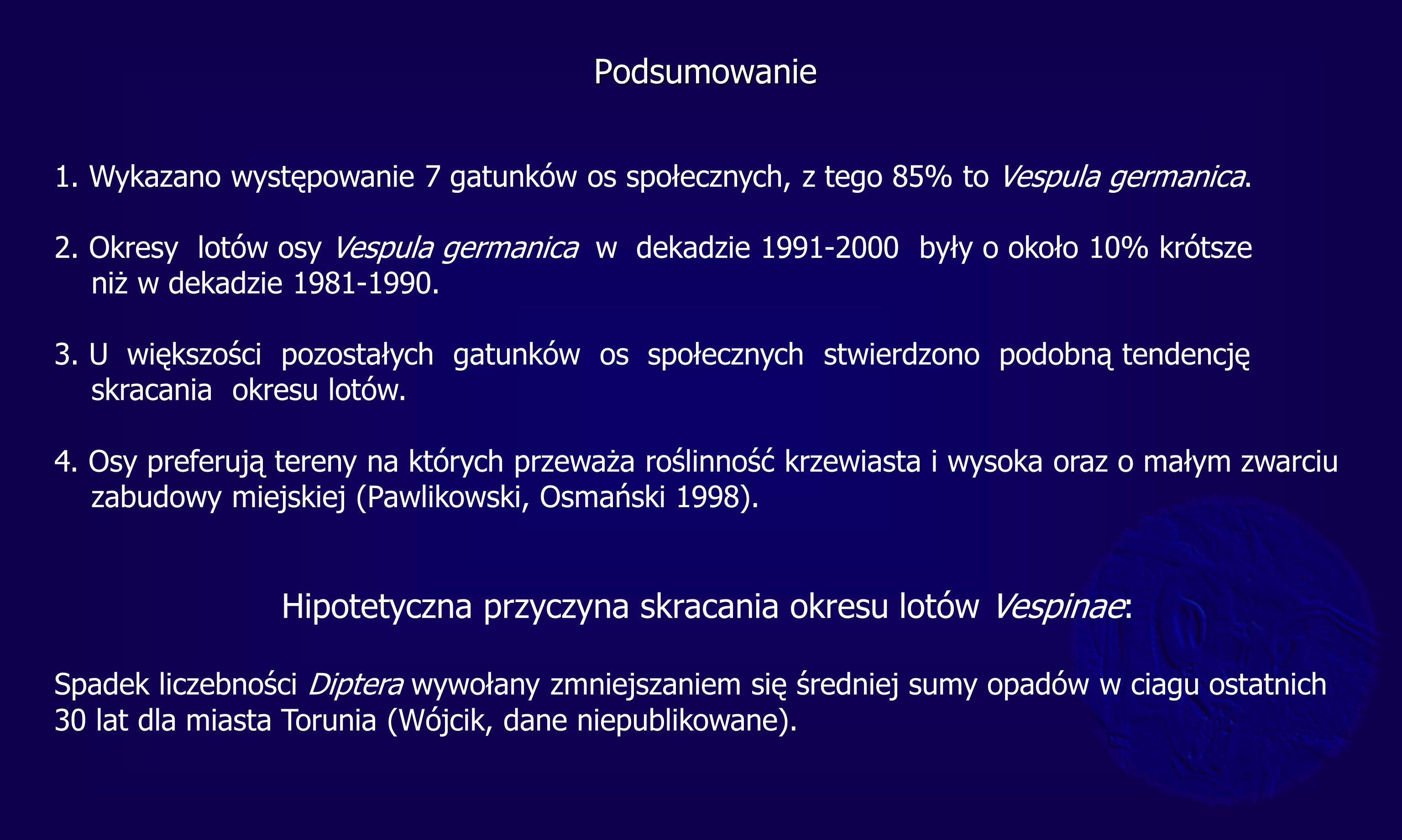 Podsumowanie 1. Wykazano występowanie 7 gatunków os społecznych, z tego 85% to Vespula germanica. 2. Okresy lotów osy Vespula germanica w dekadzie 199
