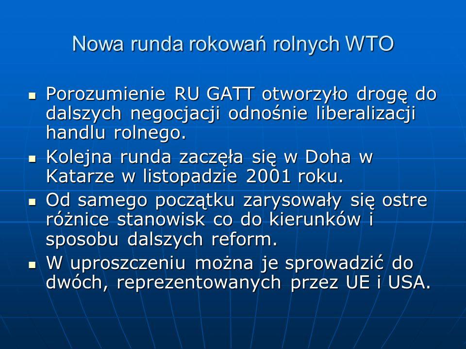 Nowa runda rokowań rolnych WTO Porozumienie RU GATT otworzyło drogę do dalszych negocjacji odnośnie liberalizacji handlu rolnego. Porozumienie RU GATT