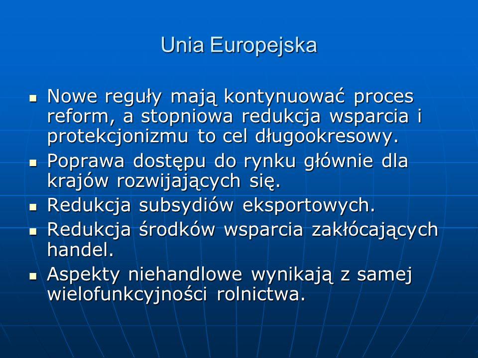 Unia Europejska Nowe reguły mają kontynuować proces reform, a stopniowa redukcja wsparcia i protekcjonizmu to cel długookresowy. Nowe reguły mają kont