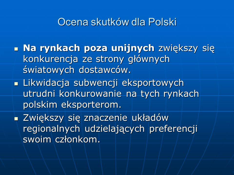 Ocena skutków dla Polski Na rynkach poza unijnych zwiększy się konkurencja ze strony głównych światowych dostawców. Na rynkach poza unijnych zwiększy