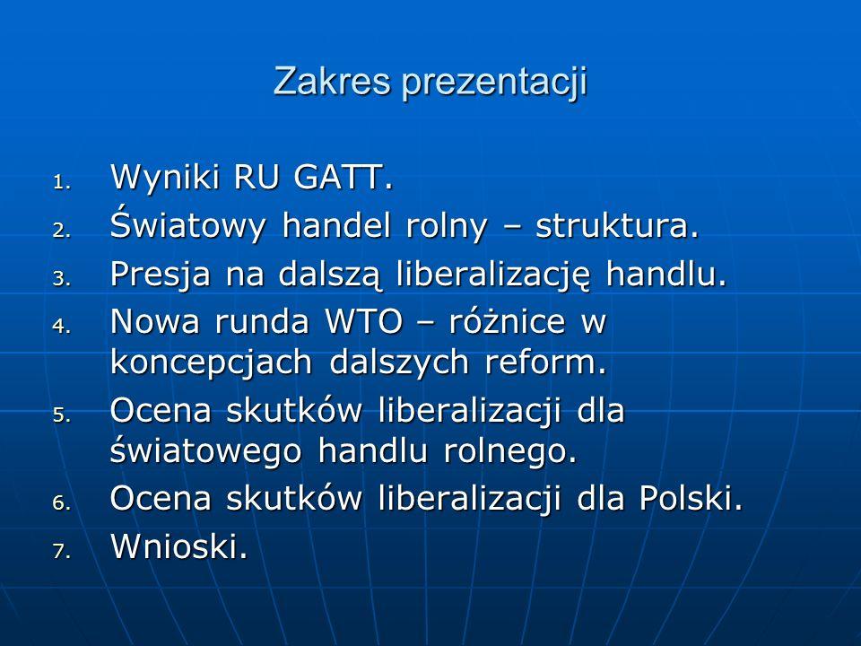 Zakres prezentacji 1. Wyniki RU GATT. 2. Światowy handel rolny – struktura. 3. Presja na dalszą liberalizację handlu. 4. Nowa runda WTO – różnice w ko