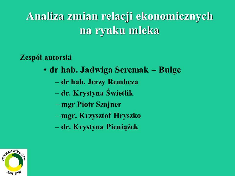 Analiza zmian relacji ekonomicznych na rynku mleka Zespół autorski dr hab.