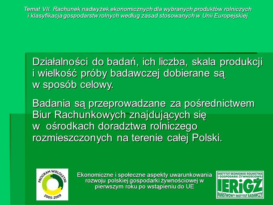 Ekonomiczne i społeczne aspekty uwarunkowania rozwoju polskiej gospodarki żywnościowej w pierwszym roku po wstąpieniu do UE Wyboru działalności do badań w poszczególnych latach dokonuje się, przy wykorzystaniu danych GUS, biorąc pod uwagę: o znaczenie gospodarcze badanej działalności, o w przypadku działalności produkcji roślinnej – udział w strukturze zasiewów w kraju, o w przypadku produkcji zwierzęcej – udział pogłowia zwierząt analizowanej działalności.