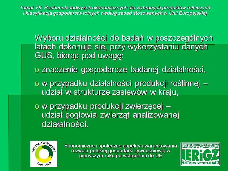 Ekonomiczne i społeczne aspekty uwarunkowania rozwoju polskiej gospodarki żywnościowej w pierwszym roku po wstąpieniu do UE Dane dla wytypowanych do badań działalności zbierane są przy współpracy z pracownikami ośrodków doradztwa rolniczego, ośrodki te zlokalizowane są w województwach, w których: o udział powierzchni uprawy / pogłowia zwierząt badanej działalności w ogólnej powierzchni / pogłowiu w Polsce jest znaczący, o znajdują się zakłady przetwórstwa rolno- spożywczego wykorzystujące produkty wytworzone w ramach prowadzenia określonej działalności produkcyjnej (np.