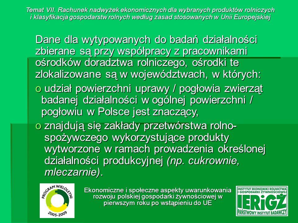 Ekonomiczne i społeczne aspekty uwarunkowania rozwoju polskiej gospodarki żywnościowej w pierwszym roku po wstąpieniu do UE Badania dotyczące określonej działalności produkcyjnej prowadzone są co kilka lat (planuje się, że najrzadziej co 5 lat).