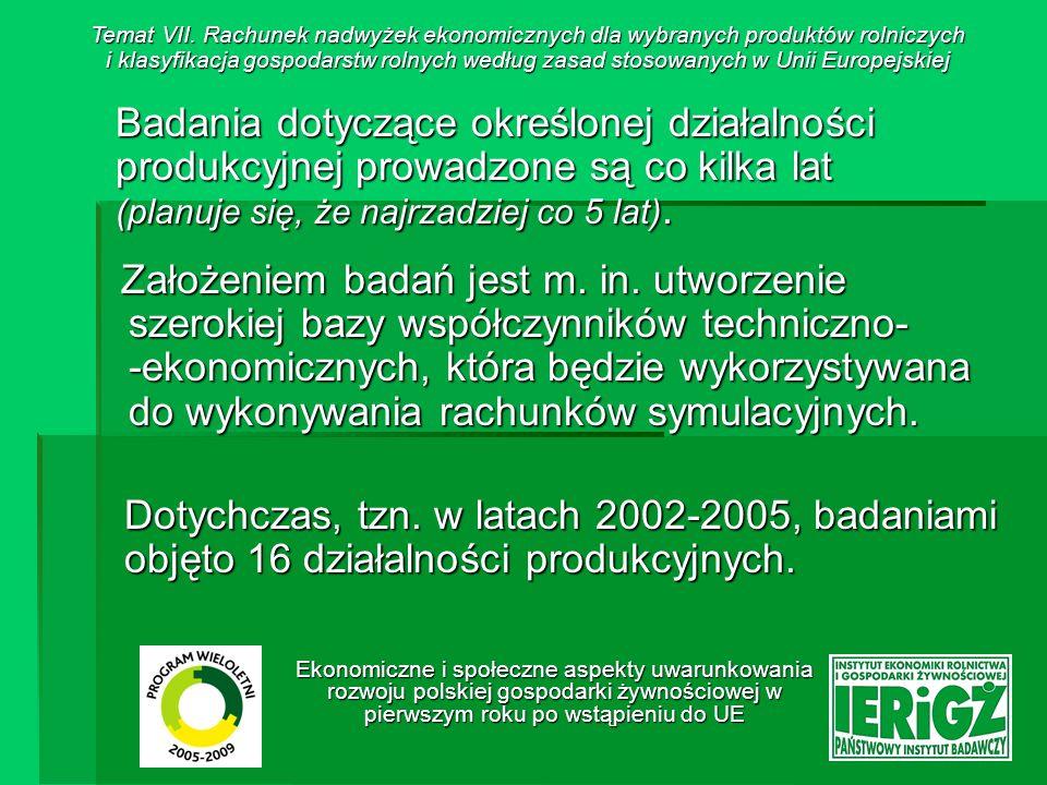 Ekonomiczne i społeczne aspekty uwarunkowania rozwoju polskiej gospodarki żywnościowej w pierwszym roku po wstąpieniu do UE Dane liczbowe dla określonej działalności produkcji rolniczej są gromadzone na terenie gospodarstw rolnych, w których jednocześnie prowadzone są badania w ramach systemu Polski FADN.