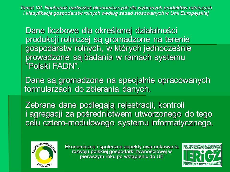 Ekonomiczne i społeczne aspekty uwarunkowania rozwoju polskiej gospodarki żywnościowej w pierwszym roku po wstąpieniu do UE Struktura systemu – moduły: 1.Moduł Wprowadzania i Kontroli Danych - pozwala na rejestrację i wstępną kontrolę danych dla określonej działalności; wykorzystywany jest przez pracowników Biur Rachunkowych, którzy wprowadzają dane do systemu komputerowego, 2.Moduł Kontroli i Agregacji Danych - umożliwia powtórną kontrolę wprowadzonych danych oraz agregację - za pośrednictwem algorytmów - danych dla każdej badanej działalności produkcyjnej, moduł ten wykorzystywany jest przez Koordynatorów BR, którzy następnie przesyłają dane do IERiGŻ-PIB.