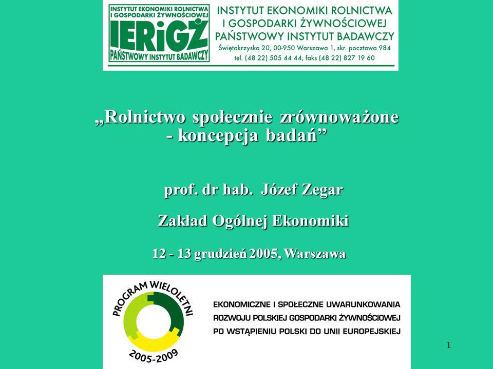 1 Rolnictwo społecznie zrównoważone - koncepcja badań 12 - 13 grudzień 2005, Warszawa prof. dr hab. Józef Zegar Zakład Ogólnej Ekonomiki