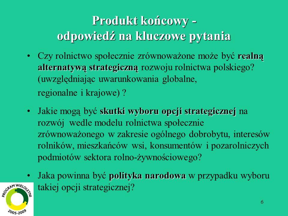 6 Produkt końcowy - odpowiedź na kluczowe pytania realną alternatywą strategicznąCzy rolnictwo społecznie zrównoważone może być realną alternatywą str