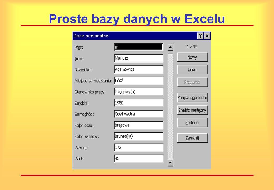 Proste bazy danych w Excelu Wygodnym sposobem wprowadzania danych jest formularz. Jest to okienko dialogowe, tworzone na podstawie nagłówków pól danyc
