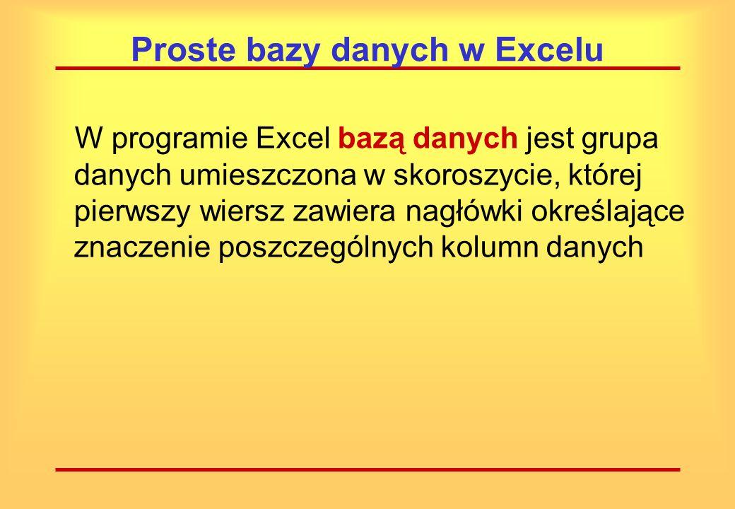 Proste bazy danych w Excelu W Excelu dostępne są mechanizmy obsługi prostych baz danych, zwanych również listami. Możliwe jest tworzenie specjalnych f
