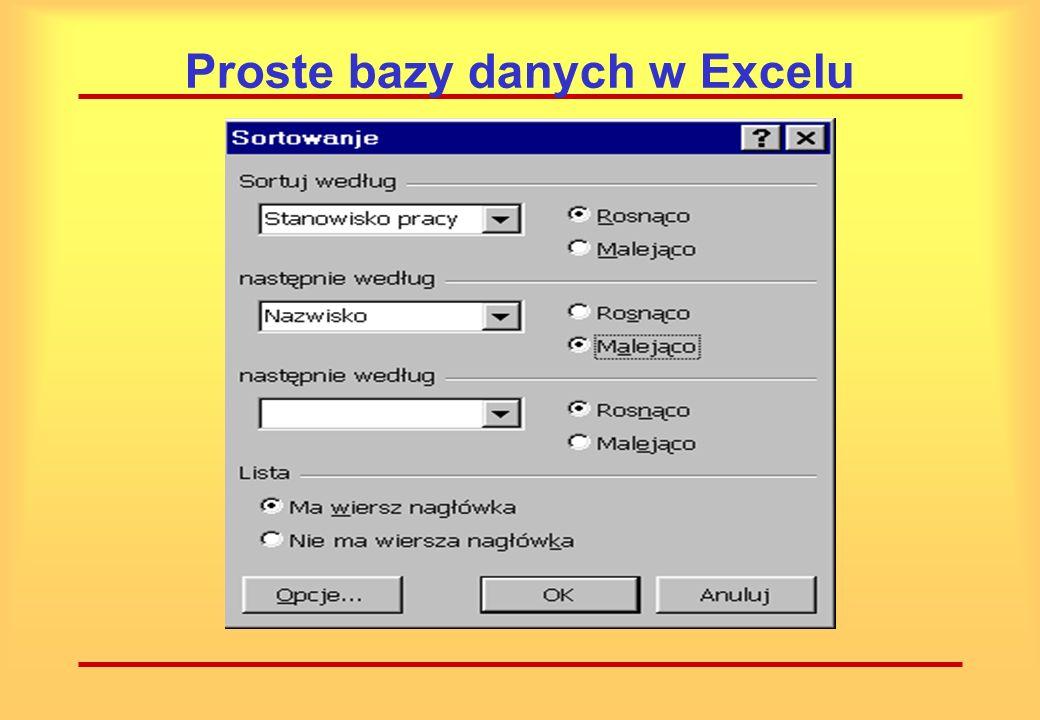 Proste bazy danych w Excelu Wygodne narzędzie wyszukiwania rekordów dostarcza nam polecenie Sortuj (menu Dane – Sortuj)